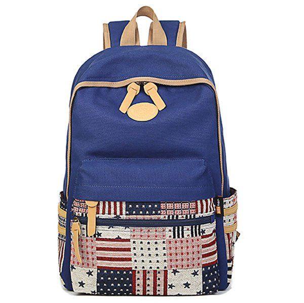Star Grid Fresh Splice College Canvas Backpacks