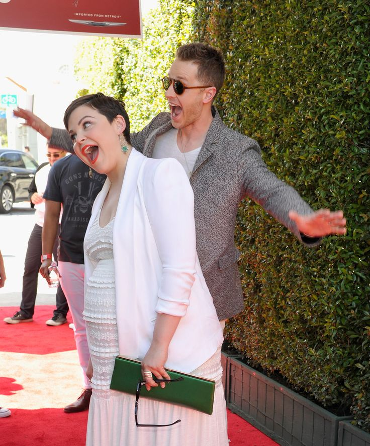 Ginnifer Goodwin and Josh Dallas messing around at John Varvatos 13th Annual Stuart House Benefit Presented by Chrysler With Kids' Tent by Hasbro Studios