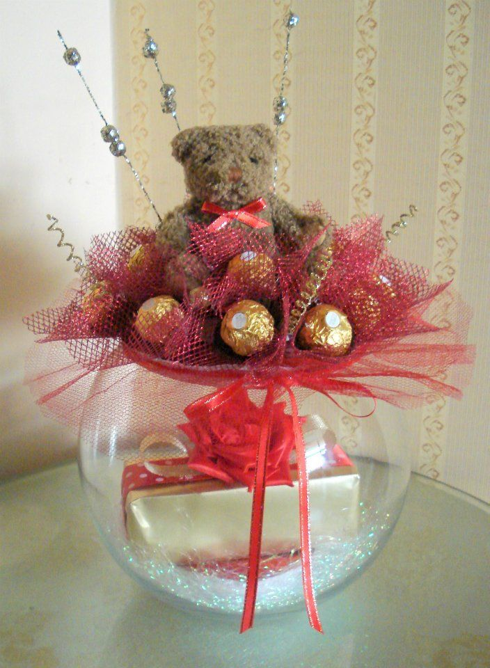 Present inside the bowl and a Chocolate bouquet on top, Valentines day creations. I am so happy that ever since I have put this up it is pinned everyday many times. Thank you everybody.