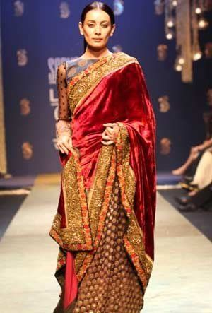 Rich colours and velvet draping for a perfect winter saree.  Sabyasachi, 2009