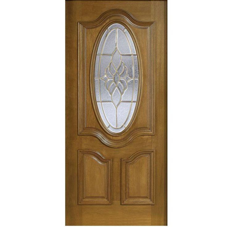 Main Door 32 in. x 80 in. Mahogany Type 3/4 Oval Glass Prefinished Walnut (Brown) Beveled Brass Solid Wood Front Door Slab