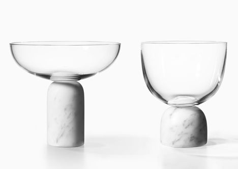On the Rock vessels by Lee Broom - amazing wine and champagne glasses with Carrera marble bases
