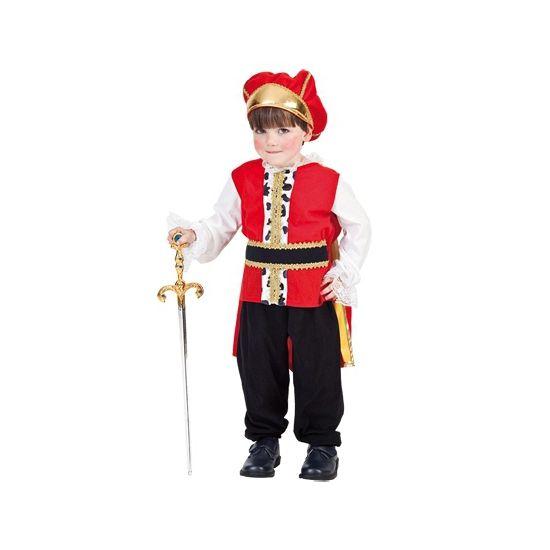 Koning kostuum voor peuters. Koning pakje voor kinderen tussen de 2 en 4 jaar. Dit kostuum bestaat uit de jumpsuit en bijpassende kroon.