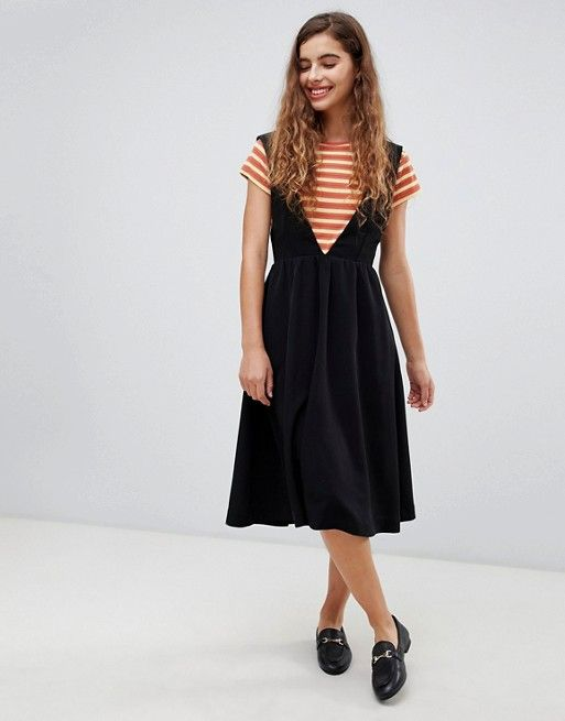 Monki In Neck Pinny V 2019Style Midi Dress Black cK1JTlF