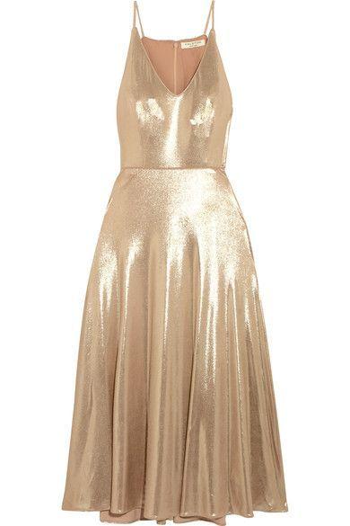 Halston Heritage - Metallic Stretch-jersey Midi Dress - Gold