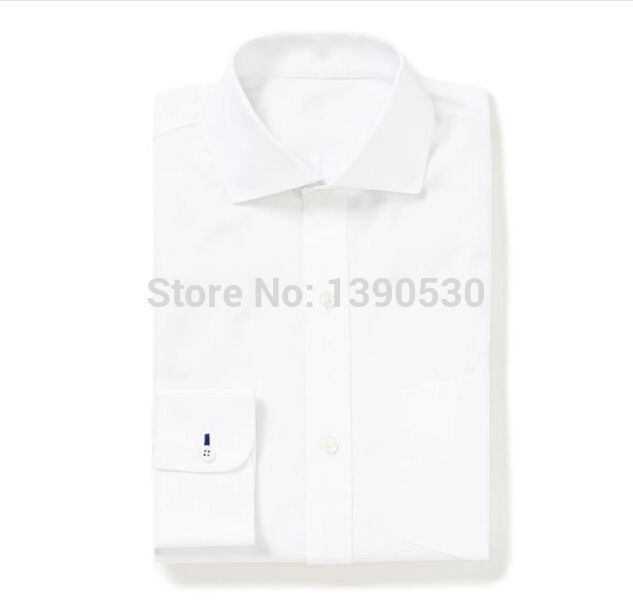 100% cotton pure white cutaway collar with contrast navy button holes on cuff long sleeve men's dress shirt