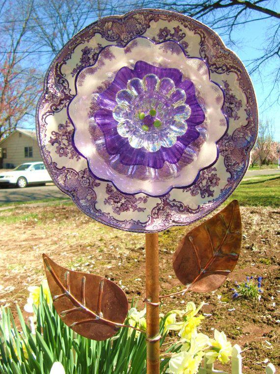 vintage glass plate floweryard art repurposed by ADelicateTouch1