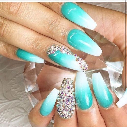 Ombre white and aqua nails. - 59 Best Nails Images On Pinterest Baby Photos, Beauty Nails And Board