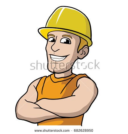 Construction Man Worker Builder with Helmet Vector Cartoon Illustration