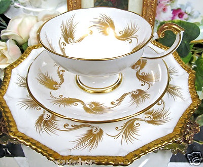 Aynsley Tea Cup and Saucer Pedestal Gold Gilt Feather