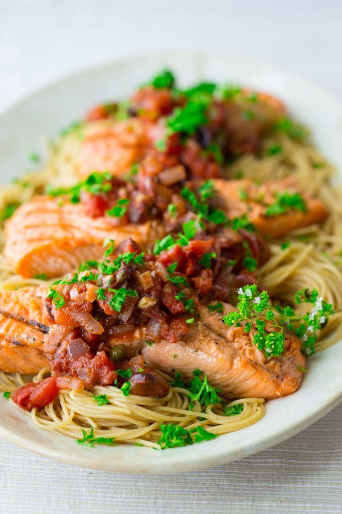 Grilled Salmon Puttanesca #paleo #glutenfree on HealthySeasonalRecipes.com