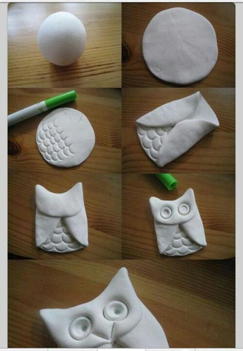 Such an easy kid DIY. Make an owl with air-dry clay! Paintable too.