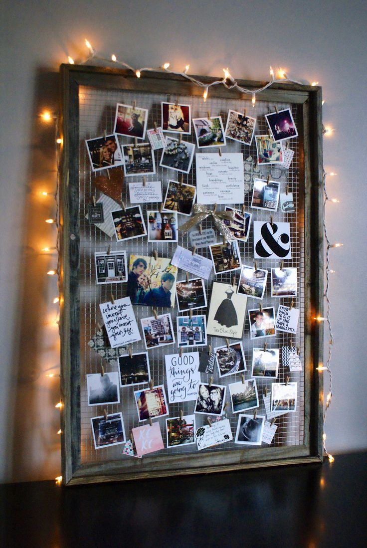 DIY Mood Board. Oo pretty. I like that she calls it a mood board. I like the use of wood clothes pins too, no holes, or magnets slipping. Could use binder clips too.