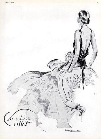 Callot Soeurs 1930 Evening Gown, Fashion Illustration Paul Valentin, Art Deco Style