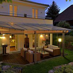 gesch tzte terrasse dank glasdach und verglasung im raum. Black Bedroom Furniture Sets. Home Design Ideas