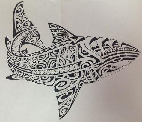 Modèle de Tattoo Requin pour l'Homme de Dessin Polynésien Maori