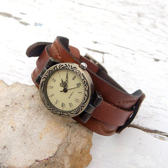Leather watch bracelet, Women Wrist Watch, Leather cuff watch, Adjustable
