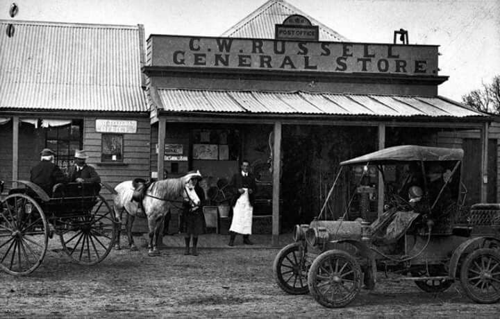 Newry in Victoria in.1910. C.W. Russell's General Store and the Newry Post Office.