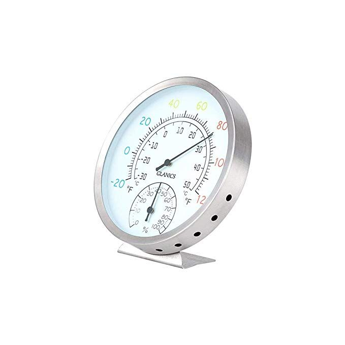 Glanics Indoor Outdoor Thermometer Hygrometer Decorative Wall Temperature Wireless Humidity For Outside Office Outdoor Thermometer Hygrometer Indoor Outdoor