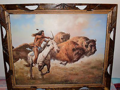 Vintage Troy Denton Native American Indian Hunting Buffalo