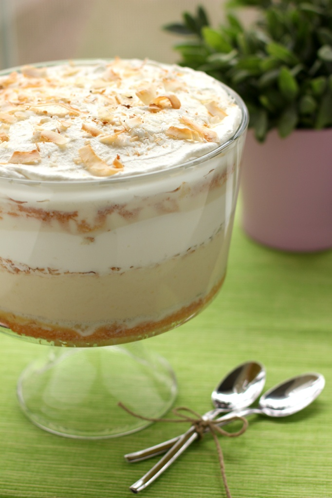 Tres Leches Coconut Cake Trifle: a cloudlike bucket of milk-soaked coconut cake, coconut pastry cream, and freshly whipped cream.
