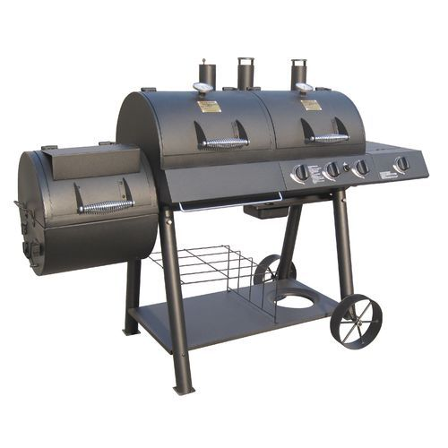 The Char-Broil® Oklahoma Joe Longhorn Charcoal/Gas Smoker and Grill features 3 stainless-steel burners and porcelain-coated, cast iron cooking grates.