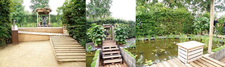 Un progetto molto carino che interagisce con il visitatore. Pedalando, i giochi d'acqua si attivano e il giardino prende vita!