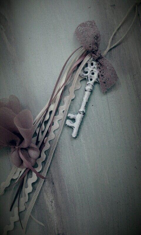 μπομπονιερα κλειδι vintage style