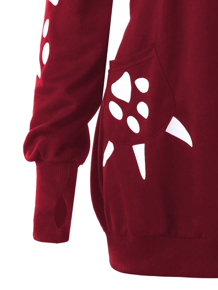 Plus Size Cat Print Hoodie with Ears