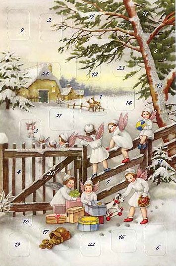 Angels at the Fence Advent Calendar Card ~ Germany