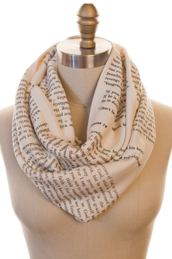 Wrap up with a good Book Scarf! Our one-of-a-kind infinity scarves now with the Bible, Romans Chapter 12.    This Storiarts Book Scarf is cream