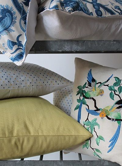 Image of Vintage Dotty Yellow and Blue Scatter Cushion