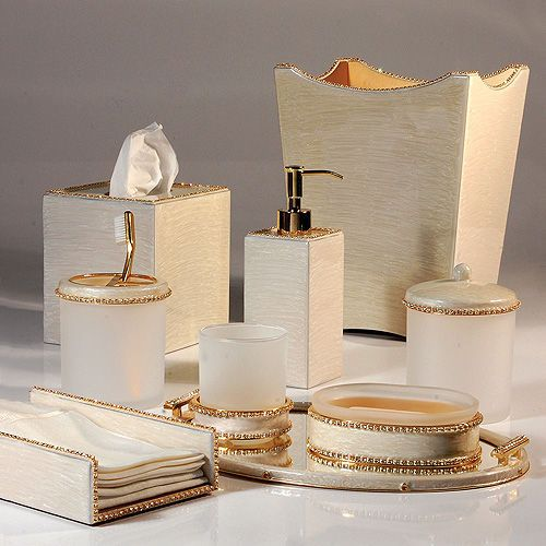Mike ally audrey moonglow gold bath accessories bath for Gold bathroom accessories sets