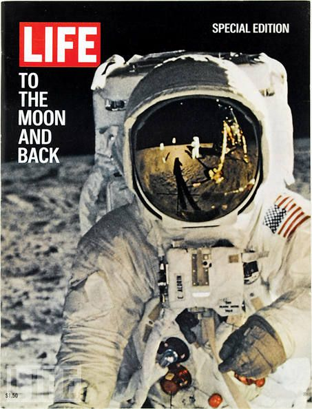 August 11, 1969: To the Moon and Back  One of the crowning achievements of human history, man landed on the moon on July 20, 1969, with the Apollo 11 mission. This, one of the most famous photographs of all time, showed astronaut Buzz Aldrin as photographed with a special camera by Neil Armstrong, who is standing near the lunar module Eagle in the reflection in Aldrin's faceplate. It was the cover of LIFE's special edition for the landing.