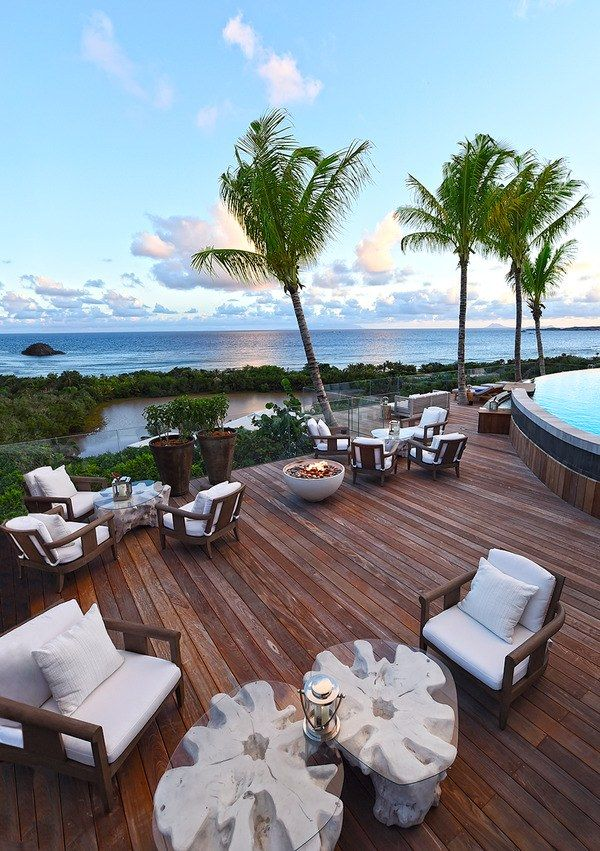 The restaurant terrace at the remodeled Hotel Le Toiny St. Barth.
