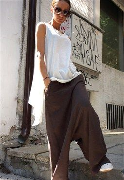 NEW Collection Loose Linen Brown Harem Pants B05131