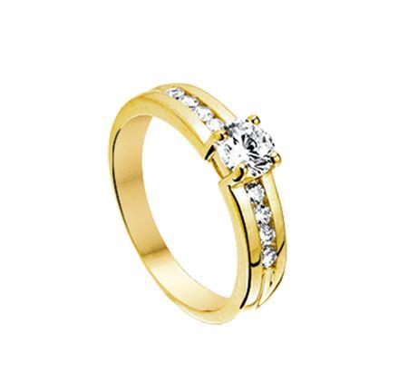Juwelier de Bokx Wijffels:  Gouden Trends €259  Geel gouden ring met zirkonia  #gouden #sieraden #ring #jdbw