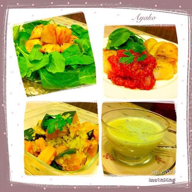 今日はちょっと暑かったので、冷凍枝豆を使って、ポタージュにしました(*^^*)豆嫌いな息子も、こうすると食べてくれます - 107件のもぐもぐ - ポークステーキ~ガーリックトマトソース添え~、桃とルッコラのサラダ、枝豆の冷製スープ、パンプキンマリネ by ayako1015