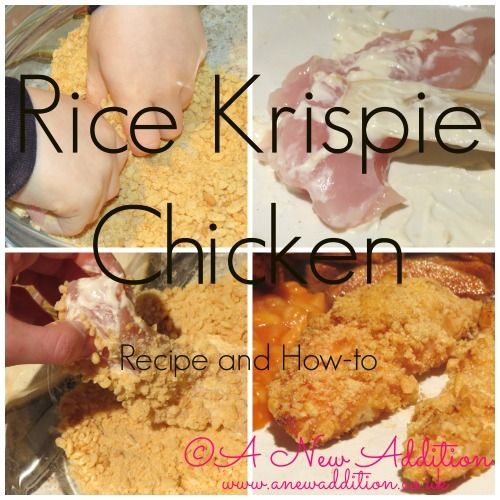 A really simple and tasty Rice Krispie chicken recipe. A healthier alternative to battered chicken and one you can involve your children in :)