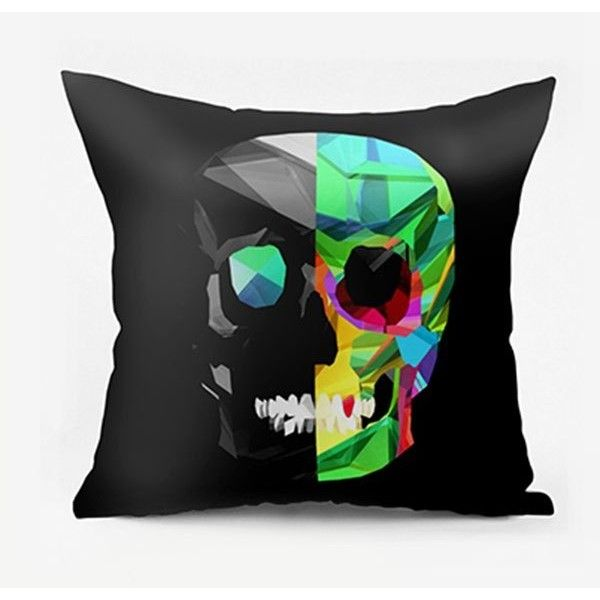 Black W26 INCH L26 INCH Novelty Skull Print Square Pillowcase ($13) ❤ liked on Polyvore featuring home bed \u0026 bath bedding bed sheets black bedding ... & Best 25+ Black pillow cases ideas on Pinterest   Black and white ... pillowsntoast.com