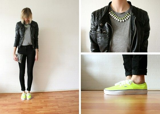 H Necklace, Only Edge Collection Leather Jacket, H Grey Top, Minusey Transparant Clutch, Vans Neon Sneakers