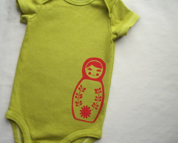 Baby Girl Onesie Red Nesting Matryoshka Doll by HudsonAndRuthie, $21.00