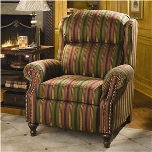 Recliners  Traditional Reclining Chair by Smith Brothers at Saugerties Furniture Mart - Beautifully tailored stripes on a super comfy recliner with an extended footrest for taller folks.