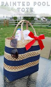 Occasionally Crafty: Fun in the Summertime Series: Painted Pool Tote Tutorial from Pistachio Road