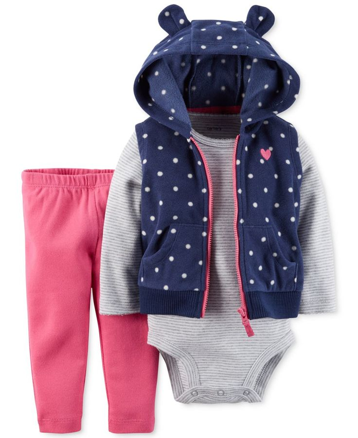 Carter's Baby Girls' 3-Piece Vest, Bodysuit & Pants Set