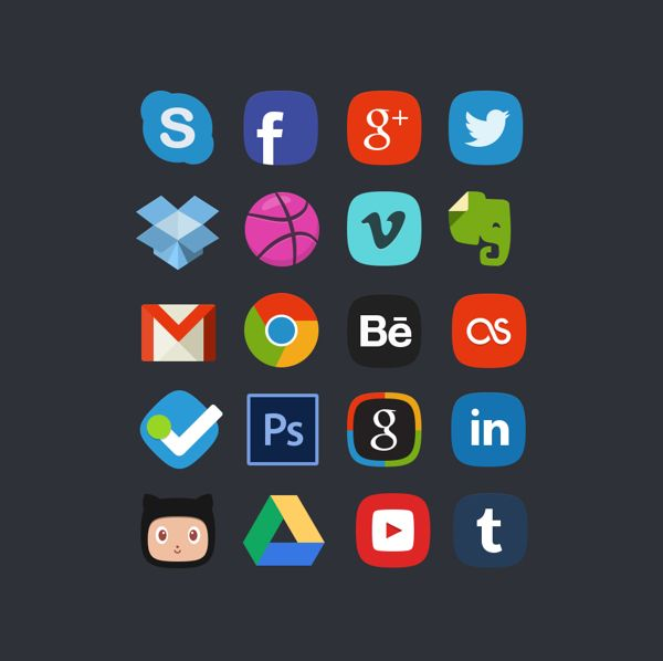 Free 20 Social Media Bages by Denis Shepovalov, via Behance