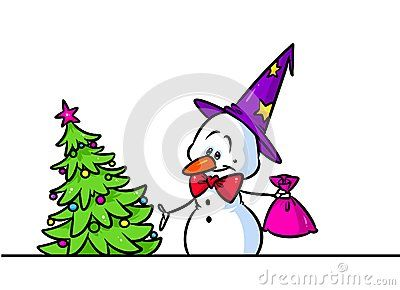 Christmas tree gift snowman cap character cartoon illustration isolated image