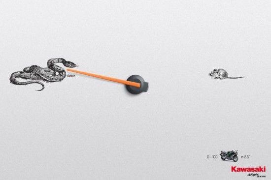 """Kawasaki Ninja ZX-14R   0-100 in 2.5""""   레바논 베이루트를 근거한 광고 에이전시 『임팩트 BBDO(Impact BBDO)』에서 기획한 모터 바이크 브랜드인 '가와사키 닌자 ZX-14R' 인쇄 광고입니다. 모터 바이크의 속도를 강조한 컨셉트로 속도 계기판을 중심으로 개구리와 뱀이 각각 먹이인 파리와 쥐를 순식간에 잡아먹으려는 긴장감이 넘치는 순간을 표현하였습니다."""