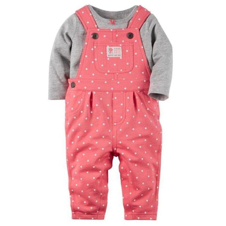 Aliexpress.com: Compre 2 Pcs Do Bebê Roupas de Menina de Manga Comprida T camisa de Manga Curta + Suspensórios Calças Do Bebê Menino Roupas Cottn Rosa Dot V49 de confiança baby boy fornecedores em HoneyDog Baby Store