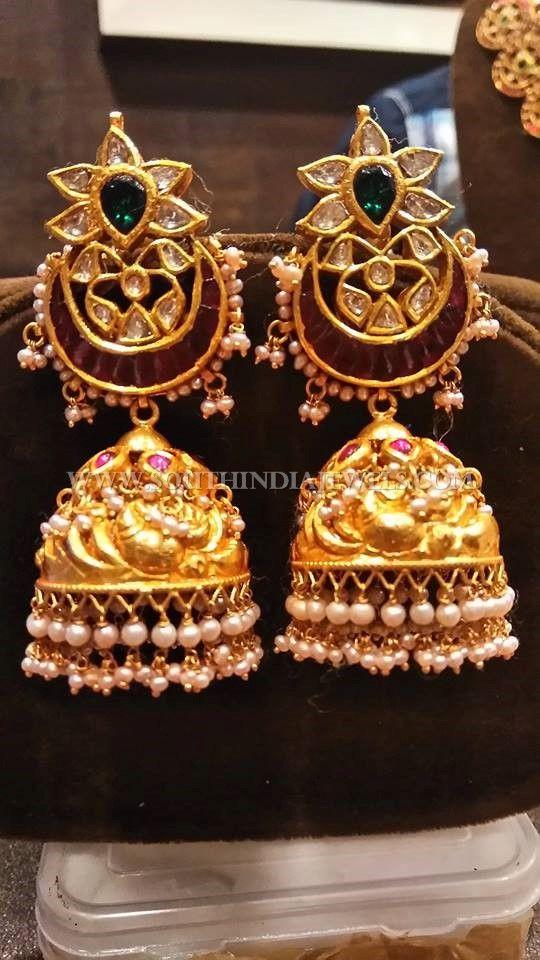 Uncut Flat Diamond Jhumka, Gold Antique Jhumka Models, Gold Antique Jhumka With Uncut Diamonds.